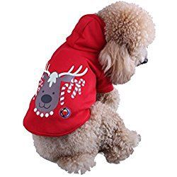 Royal Wise Dog Cat Christmas Clothes Led Costume Doggy Warm Cute Xmas Blink Shirt (Red, M)