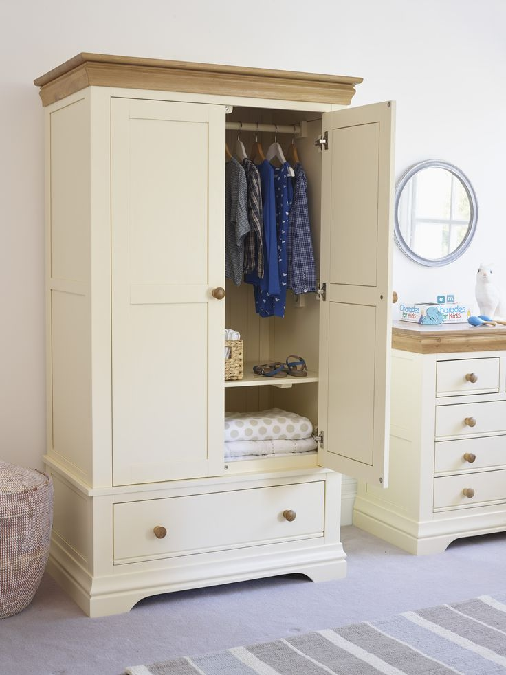 The Country Cottage nursery wardrobe has longevity built in with its two adjustable hanging rails and adjustable – or removable – shelf. All the Oak Furniture Land nursery ranges are built with safety in mind, and have soft-close drawers and doors, and wall ties are supplied. The nursery furniture also conforms to UK standards for child safety.