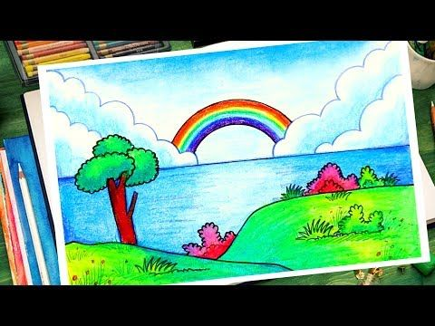 How To Draw Easy Scenery For Kids Rainbow Scenery Drawing Easy