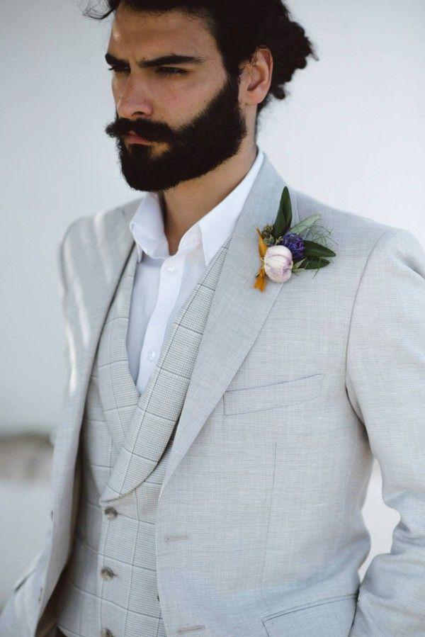 Matrimonio Bohemien Uomo : Abito da sposo bohemien in lana e lino confezionato su misura