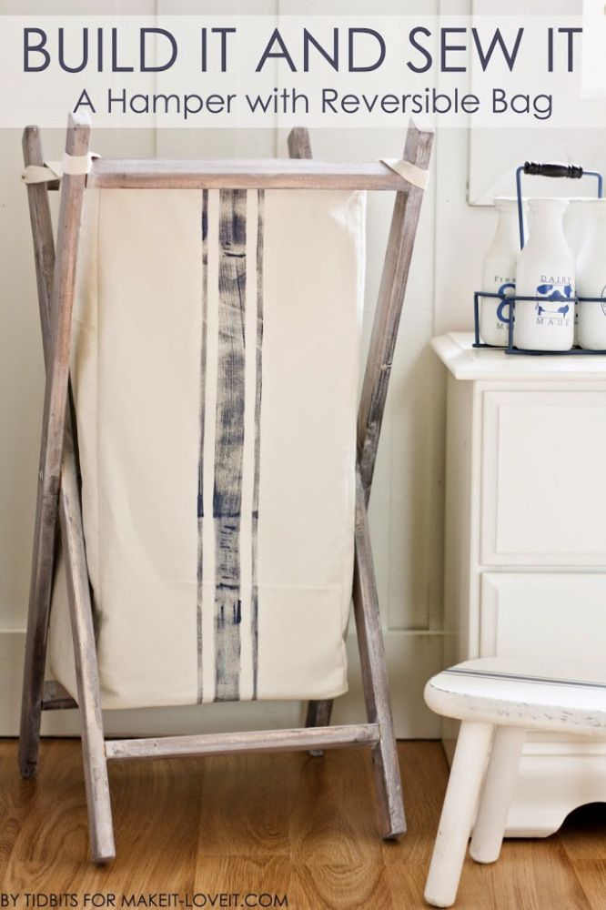 Fold-able laundry hamper with a reversible bag.  Build and sew project with full tutorial available!