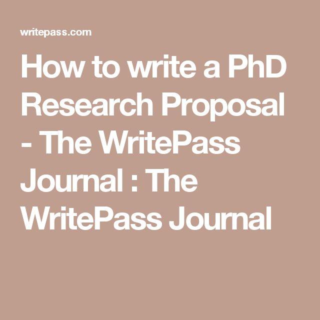 write a phd proposal