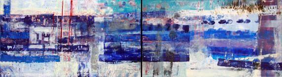 Дарья Багринцева, Питер, диптих, 200x50см, холст, акрил, настроение, абстрактный экспрессионизм, 2006