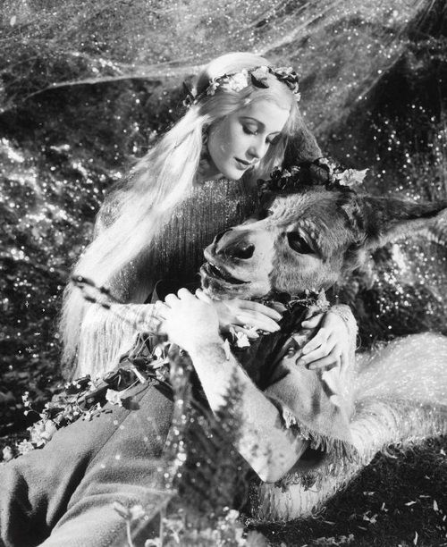 James Cagney as Bottom and Anita Louise as Titania in A Midsummer Night's Dream (1935, dir. William Dieterle & Max Reinhardt).