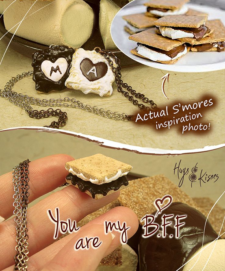 * Smores Necklaces - Set of 2 - Personalized Best Friends Necklaces * https://www.etsy.com/listing/174593853/friendship-necklaces-smores-necklaces   ~  www.hugskissesmini.etsy.com