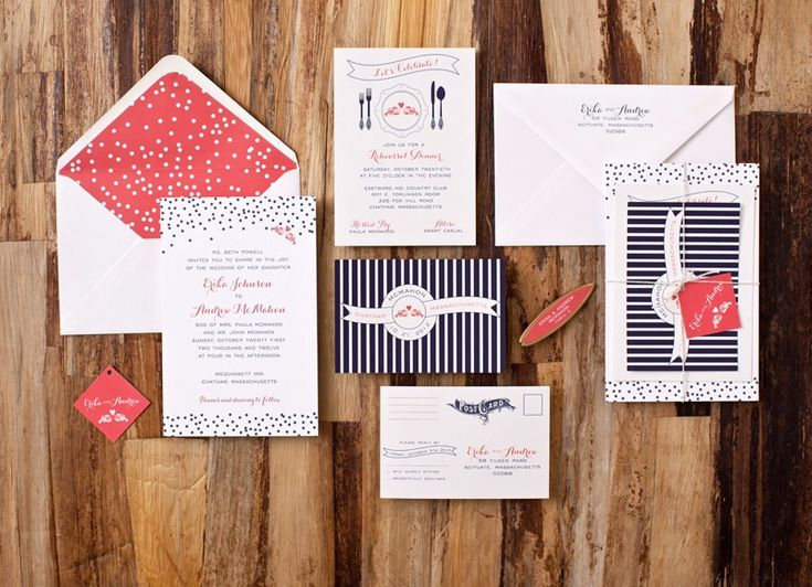 Erika + Andrew's Modern Nautical Wedding Invitations | Design Credit: Suite Paperie | Photo Credits: Tory Williams
