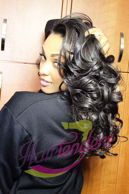 IG: @b_issomethinelse w/ signature sew in weave by HairTenders. Voluminous sexy Curls. Indique Hair