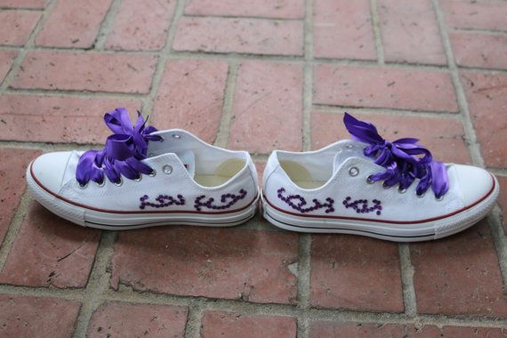 Custom Bedazzled Converse - Purple Bedazzled Converse - Glitter Converse - Ribbon Lace Converse - Bedazzled Shoes - Glitter Shoes