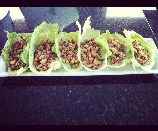 PF Changs Healthier Lettuce Wraps --    Filling = ground turkey, lettuce leads, veg oil, minced garlic, ground ginger, green onion, water chestnuts.....    Sauce = 3 tbsp hoisin sauce, 2 tbsp soy, 1 tbsp rice wine vinegar, 2 tsp roasted red chili paste