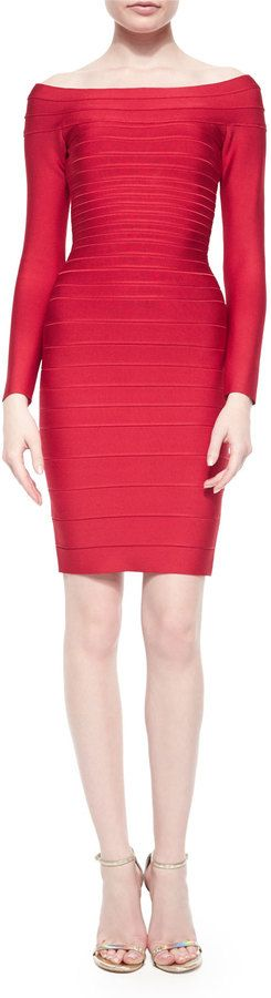 $1,150, Herve Leger Long Sleeve Bandage Dress. Sold by Neiman Marcus. Click for more info: https://lookastic.com/women/shop_items/273083/redirect