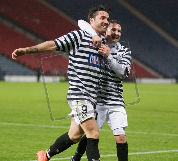 Queen's Park's Chris Duggan celebrates his second goal during the SPFL League One play off game between Queen's Park and Cowdenbeath