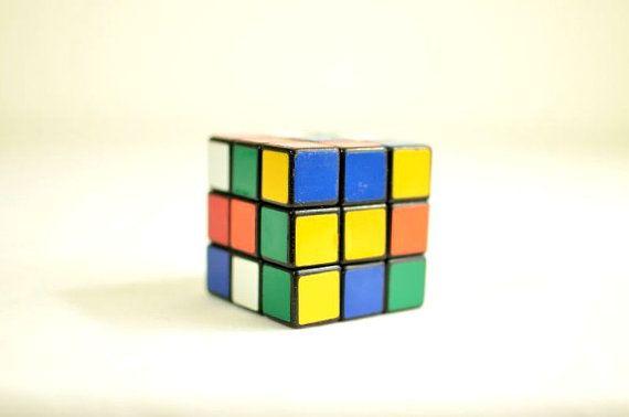 Vintage Original Rubik's Cube Magic Cube V-Cube Gu Hong Zhan Chi Pan Shi 3-D Puzzle 1980's