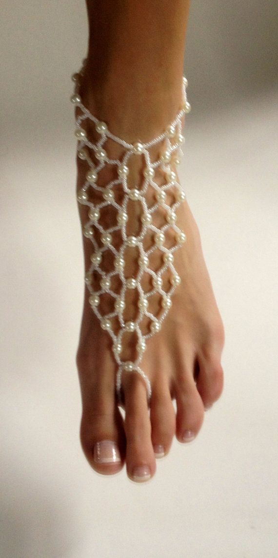 Destination Wedding Barefoot Sandals with White by BareSandals