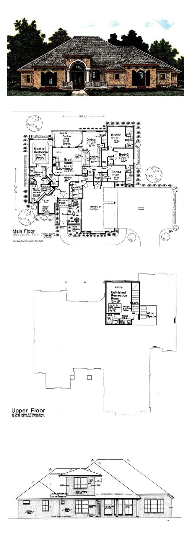 European house plan 92295 total living area 2621 sq ft 4 bedrooms