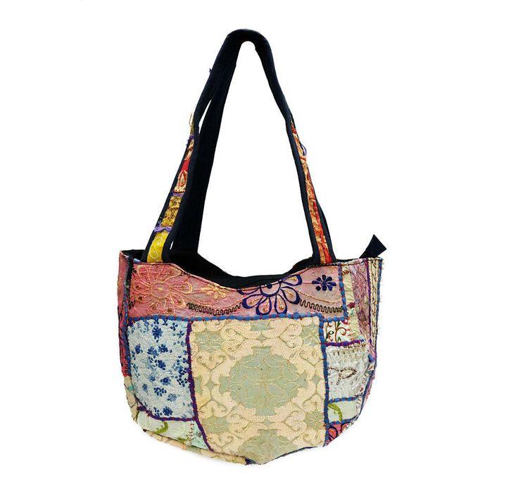 Boho Patchwork Hand Embroidered Bags Vintage Cotton Women Shoulder Shopping Bag #Handmade #ShoulderBags
