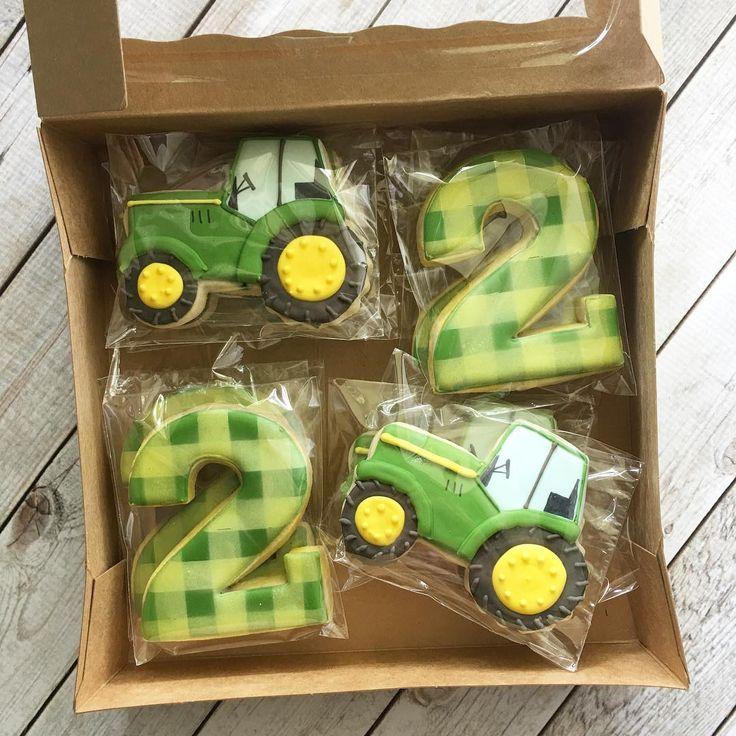 """525 Likes, 18 Comments - Sarah Brumit (@sarahscustomcookies) on Instagram: """"Tractors & 2's! #tractorcookies #customcookies #decoratedcookies #cookiedecorating…"""""""