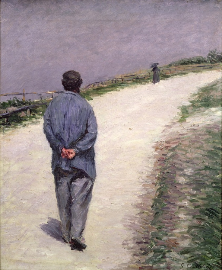 Pere Magloire on the Road to Saint-Clair, Etretat, by Impressionist painter Gustave Caillebotte