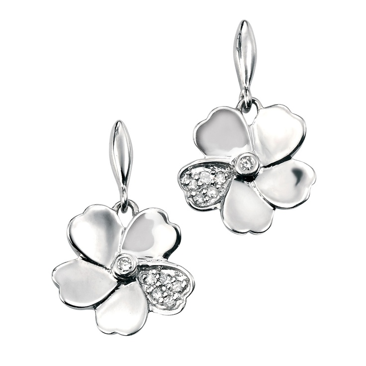 Gecko Jewellery 9ct White Gold and Diamond Flower Earrings