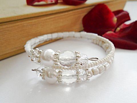 Memóriadrótos karkötő fehér gyöngyökkel, Ékszer, óra, Esküvő, Karkötő wedding bracelet