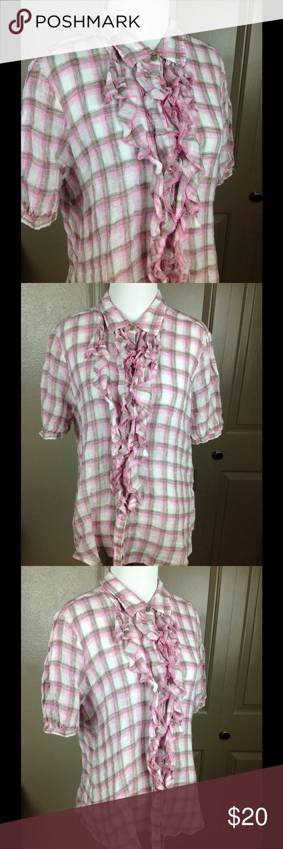 Ryan Michael Top Button Up Linen XL Western Plaid Great condition pink/white/brown plain 100% linen abalone full button up ruffled center 25 inch length 22 inch across bust Ryan Michael Tops Blouses
