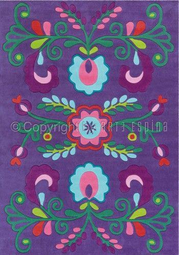 Flower Power herleeft met dit prachtige paarse kinderkamer vloerkleed van Arte Espina!