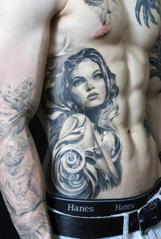 The side tattoos for men are more defining than any other, and when drawn one cannot miss noticing the striking beauty of the rib tattoos. As the name suggests, they are inked on the rib… #tattoosmen
