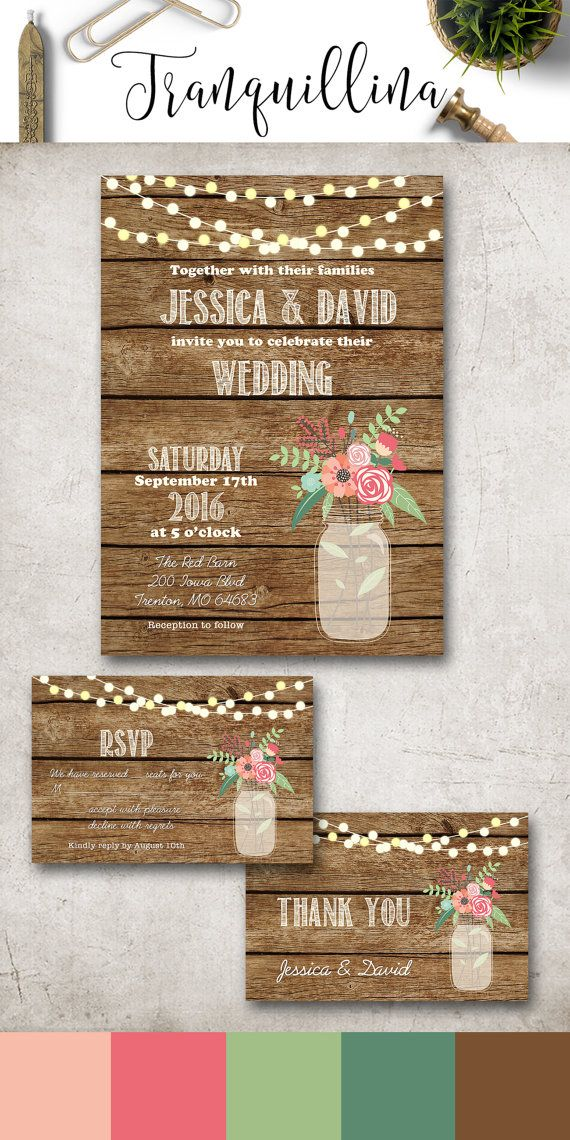 Rustic Wedding Invitation Set with Mason Jar & Flowers, Country Wedding Invite, Wedding Stationery, Barn Wedding Ideas, DIY Printable Invitation set with other matching items you can find on: tranquillina.etsy.com