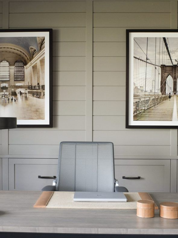 Sage Green Shiplap Paneling On The Walls Large Scale Photography In Home Office Anderson Studio