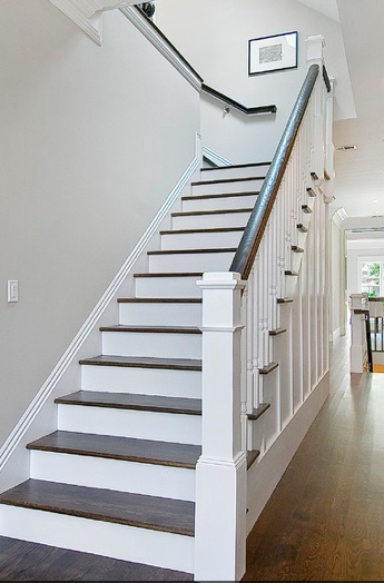 Like the dark wooden white look.  Same dark wood for bannister
