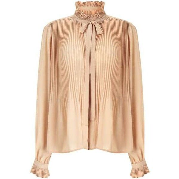 Nude Pleat Blouse (£45) ❤ liked on Polyvore featuring tops, blouses, beige blouse, pleated blouse, miss selfridge, pleated top and nude blouses
