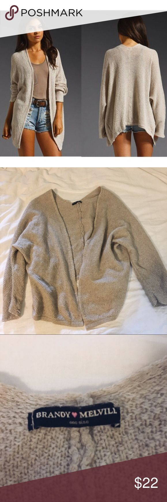 Knit cardigan in oatmeal Brandy Melville one size cardigan. No rips, tears or flaws. Only worn once and washed. Excellent condition. Brandy Melville Sweaters Cardigans