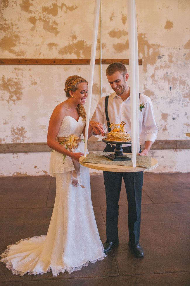 My Favorite 2014 Wedding Trend {already!} suspended cakes!! Bohemian Sunrise Wedding In Neutral Colors Featuring Suspended Crepe Cakes, Pillow Seating, Rickshaws & So Much More | Photography by A Darling Day  http://storyboardwedding.com/bohemian-sunrise-wedding-neutral-palette-crepe-cake-rickshaw/