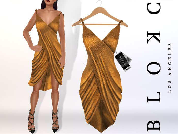 "BLOKC Draped ""Grecia"" Dress GOLD Gift PROMO FREE"