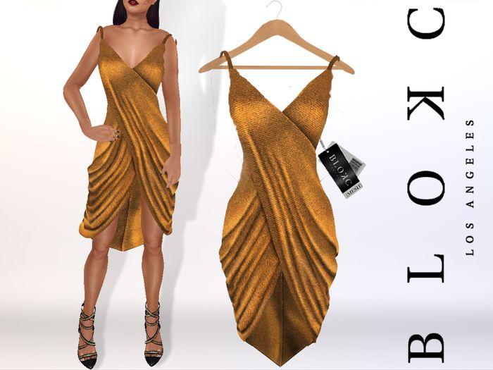 "BLOKC Draped ""Grecia"" Dress GOLD Gift PROMO FREE"