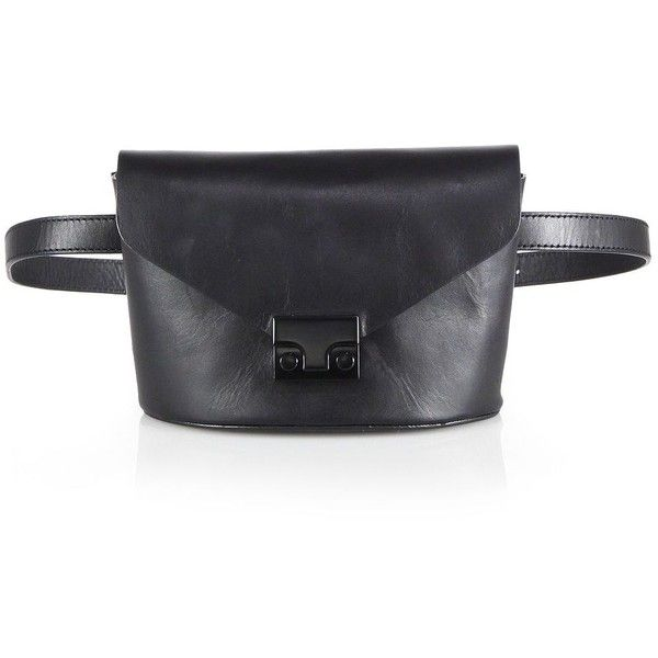Loeffler Randall Leather Fanny Pack ($295) ❤ liked on Polyvore featuring bags, apparel & accessories, black, black bag, leather belt bag, leather bum bag, leather bags and bum bag