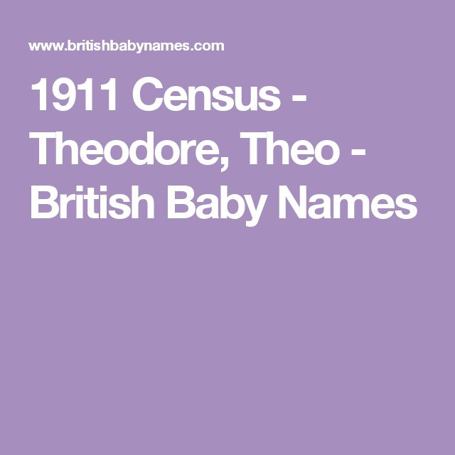 1911 Census - Theodore, Theo - British Baby Names