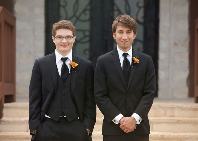 Michael and Gavin at Michael's wedding uwu