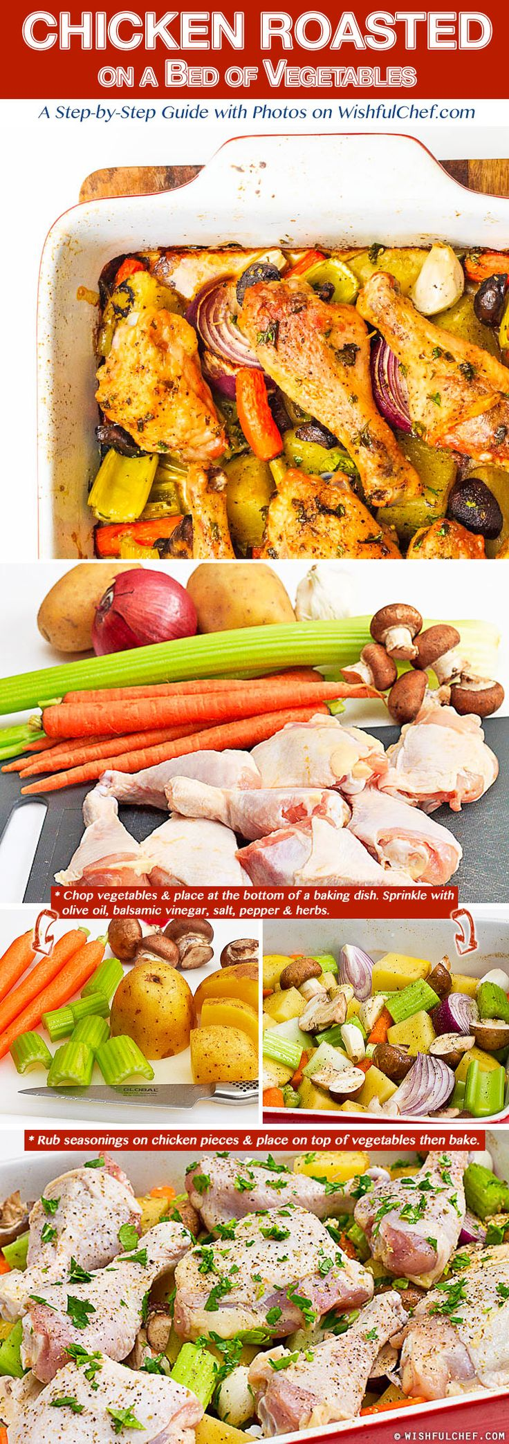 Chicken Roasted on a Bed of Vegetables - The Perfect One Pot Meal // wishfulchef.com