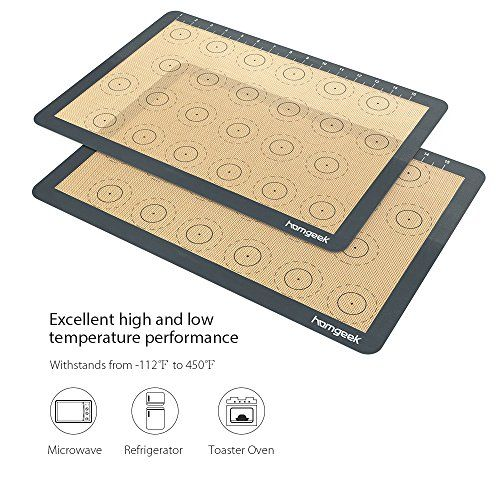 Homgeek Silicone Macaron Baking Mat With Measurements Set Of 3 Large Reusable Professional Non Stick Silicon Liner For Bake Pans Rolling Macaroon Pastry Coo Silicone Baking Sheet How To Make Cookies Baking