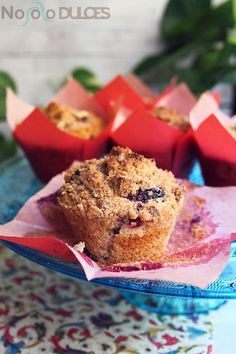 No solo dulces - Muffins integrales arándanos con crumble canela y avena - Blueberry Muffins with cinnamon crumble