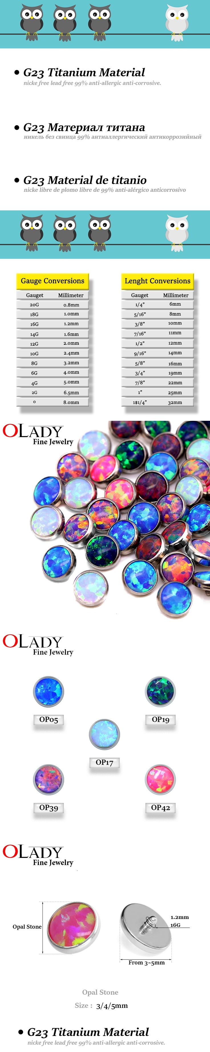Micro Skin Diver Dermal 100% Titanium Piercing Opal Stone Top dermal Anchor piercing body jewelry attachments-jewelled disc