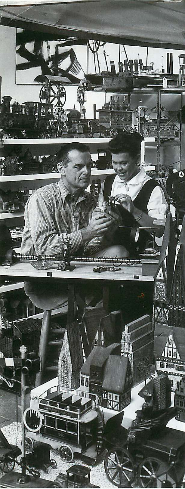 charles and ray eames at work on toccata for toy trains. Black Bedroom Furniture Sets. Home Design Ideas