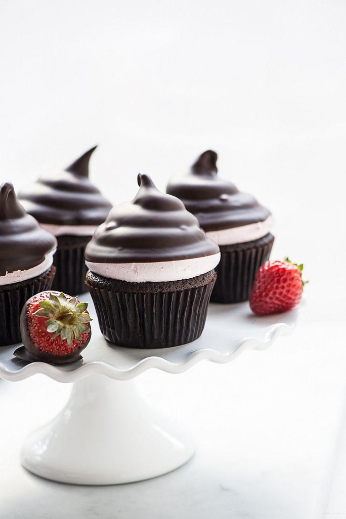 Chocolate Covered Strawberry Hi Hat Cupcakes (Gluten Free) whoa!
