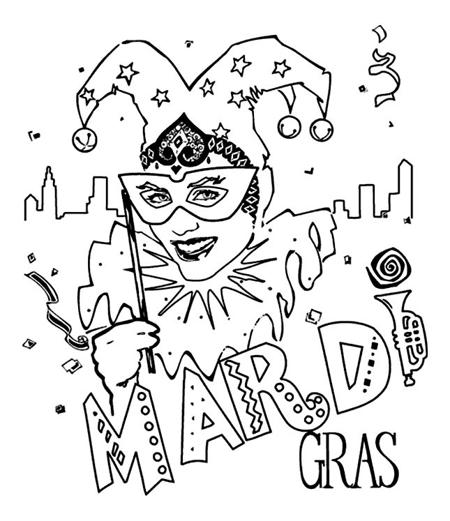 Mardi Gras Jester Coloring Page For The Kids Campground Fun