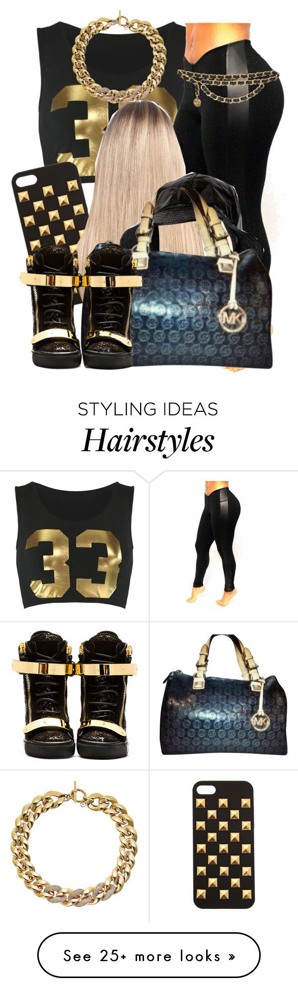 """""""Black and Gold Contest"""" by trillest-queen on Polyvore featuring Extension Professional, Michael Kors, Giuseppe Zanotti and Chanel"""