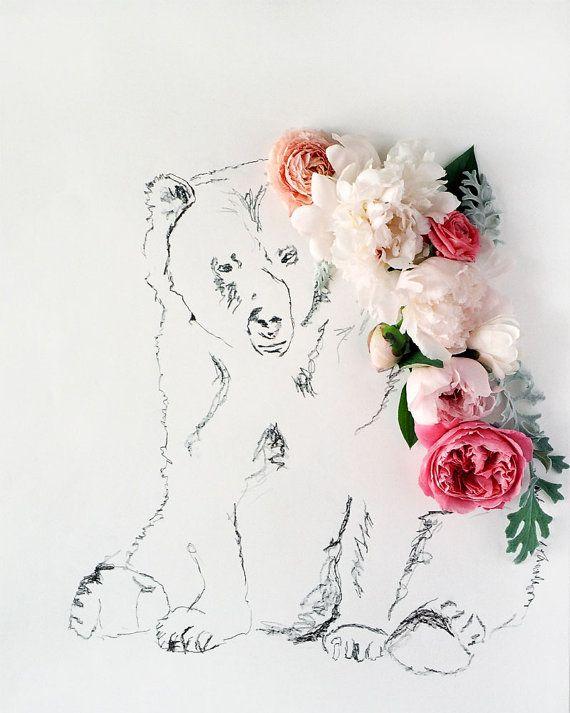 Bear and Flower Photograph No. 88224 https://www.etsy.com/shop/kariherer