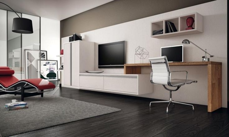 Office & Workspace, Contemporary Home Office Furniture With TV On Wall And Decorative Wall Shelves