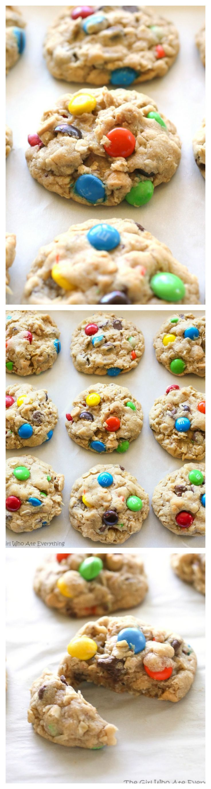 Monster Cookies - these soft cookies are filled with peanut butter, oats, chocolate chips, and M&Ms.