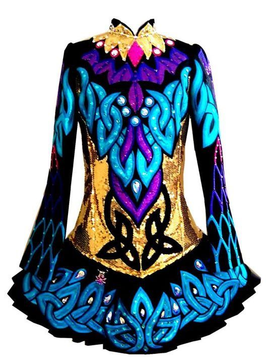 Gorgeous Celtic Art Irish Dance Dress Solo Costume For Sale