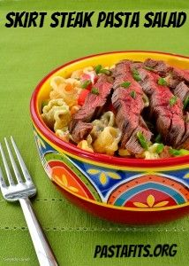 Grilled Skirt Steak Over Pasta Salad with Avocado, Tomato, Corn and ...
